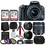Canon EOS Rebel SL2 Digital SLR Camera + EF-S 18-55mm f/4-5.6 IS STM Lens + Wide Angle & Telephoto Lens + 48GB Memory Card + Flexible Tripod + DC59 Large Gadget Bag – Complete Accessory Bundle