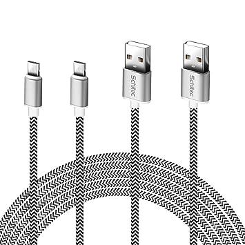 Cable Micro USB, (2Pack-3Meter) Cargador Micro USB 2.4A Carga Rápida Cable USB -GARANTÍA DE por Vida- Compatible con Android, Samsung, HTC, Huawei, ...