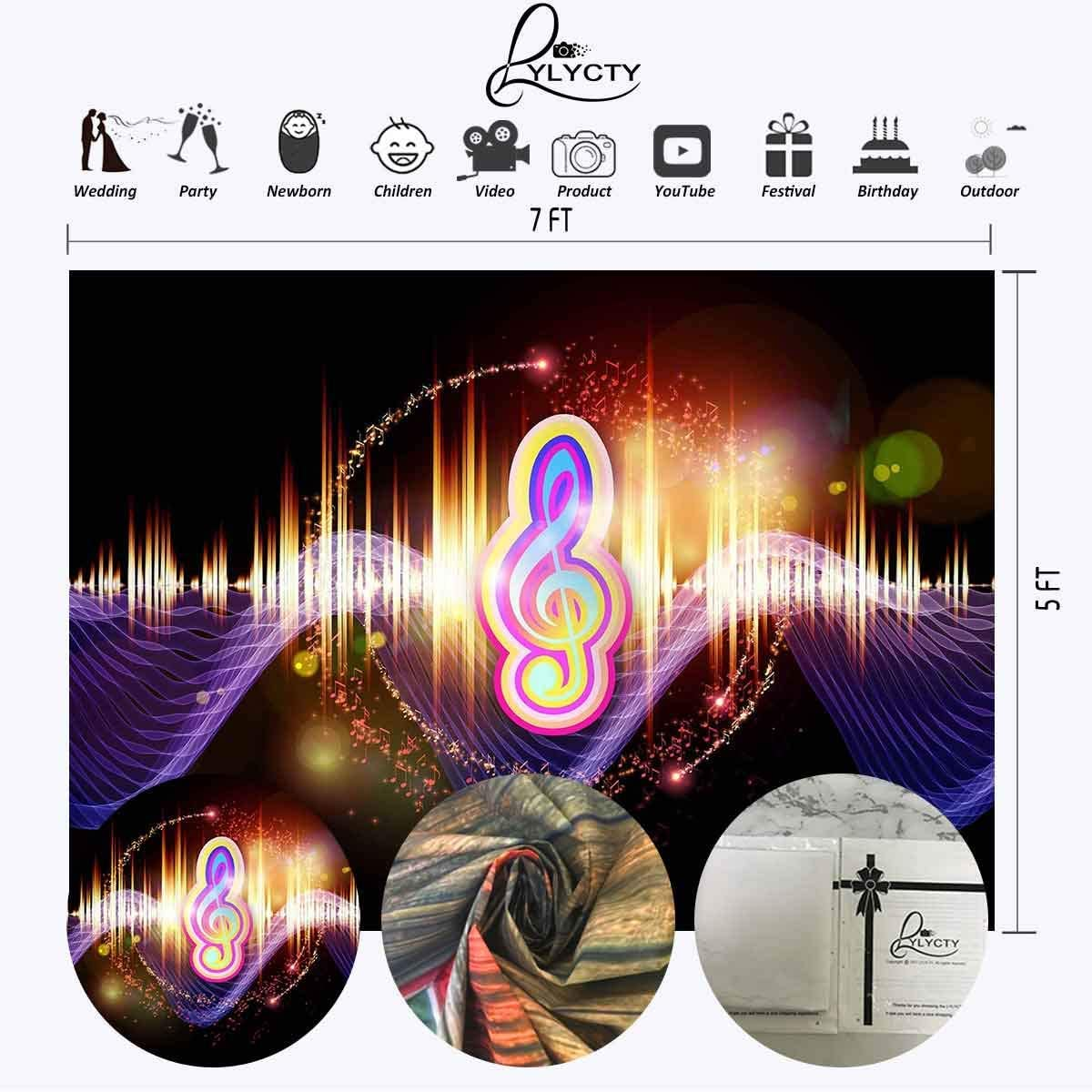 6x4ft Vinyl Dynamic Music Symbol Background Dazzle Color Background for Music Theme Party Decoration Banner Features Personal Portrait Background LYLS851 for Party Decoration Birthday YouTube Videos S