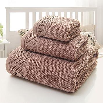 Longwei Traje de Toalla de algodón Toalla de baño de Toalla de Hotel Pañuelo Cuadrado Traje de Tres Piezas Gris Blanco (Color : C): Amazon.es: Hogar