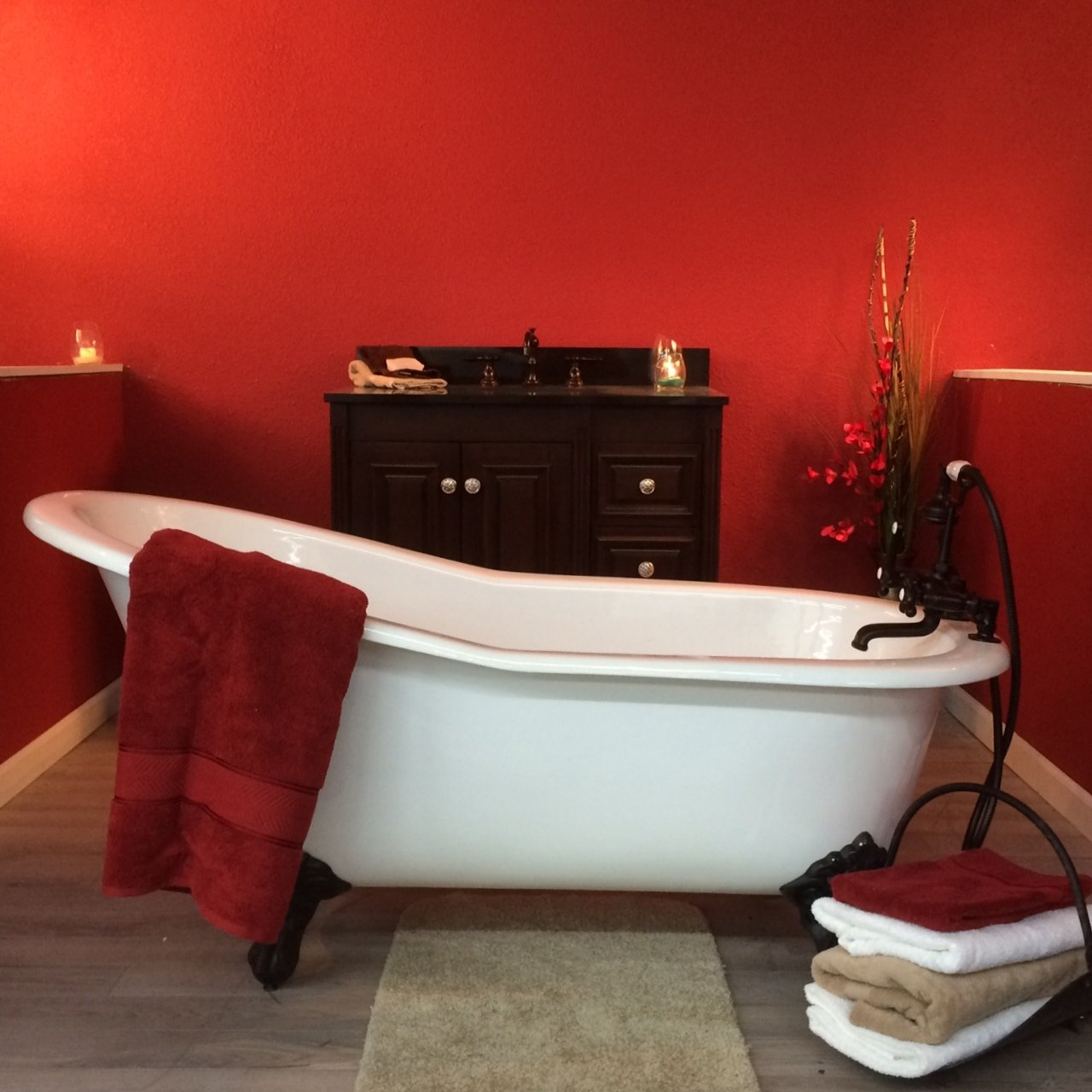 67 Cast Iron Slipper Tub with 7 Faucet hole Drillings /& Oil Rubbed Bronze Feet-Clay