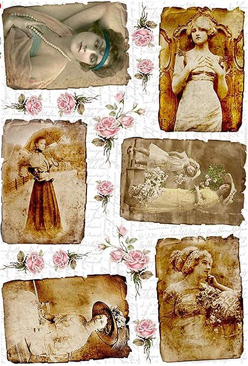 Zitas Creative Reispapier A4 Decoupage Papier Strohseidenpapier Motiv-Strohseide Vintage Portrait 4