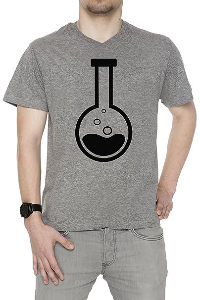 Química Hombre Camiseta V-Cuello Gris Manga Corta Tamaño S Mens T-Shirt V