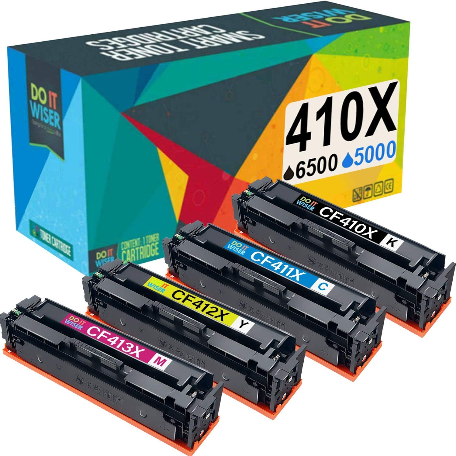 Do It Wiser Compatible Toner Cartridge Replacement for HP 410A 410X CF410X CF410A Color Laserjet Pro MFP M477fdw M477fdn M477fnw M452dn M452dw M452nw M377 (4-Pack)