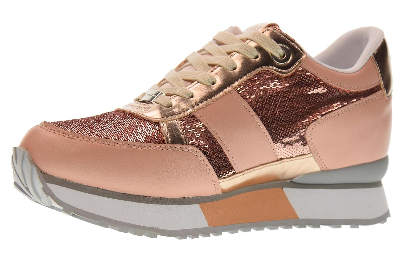 Apepazza Scarpe Donna Sneaker MOD Renee in Pelle Col. Cipria con Paillettes DS18AP10 Cipria
