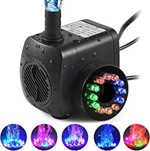 TOPBRY 220 GPH Submersible Water Pump(800L/H, 15W),Ultra Quiet 12 LED Colorful Pump Lights with 2 Nozzles,6 Feet Power Cord for Fish Tank, Pond, Aquarium, Statuary, Hydroponics