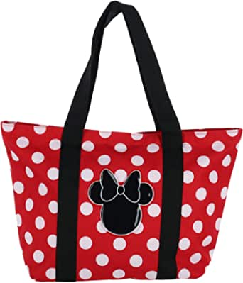 Disney Women's Minnie Mouse Polka Dot Canvas Tote Bag, Red