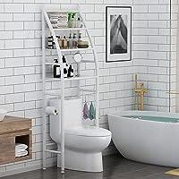 "YAQOOT® Bathroom Toilet Storage Rack, 3-Tier Over-The-Toilet Storage Shelf, Bathroom Organizer Over Toilet White (18.9""L…"