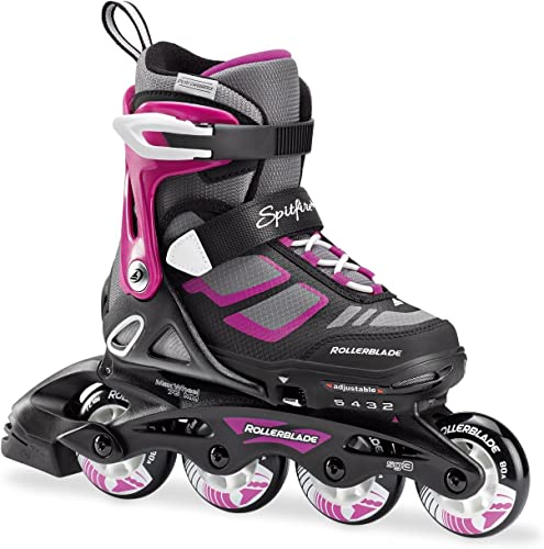 Rollerblade Spitfire XT Girl s Adjustable Fitness Inline Skate, Black and Pink, Junior, Youth Performance Inline Skates