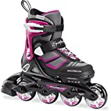 Rollerblade Spitfire XT Girl's Adjustable Fitness Inline Skate, Black and Pink, Junior, Youth Performance Inline Skates