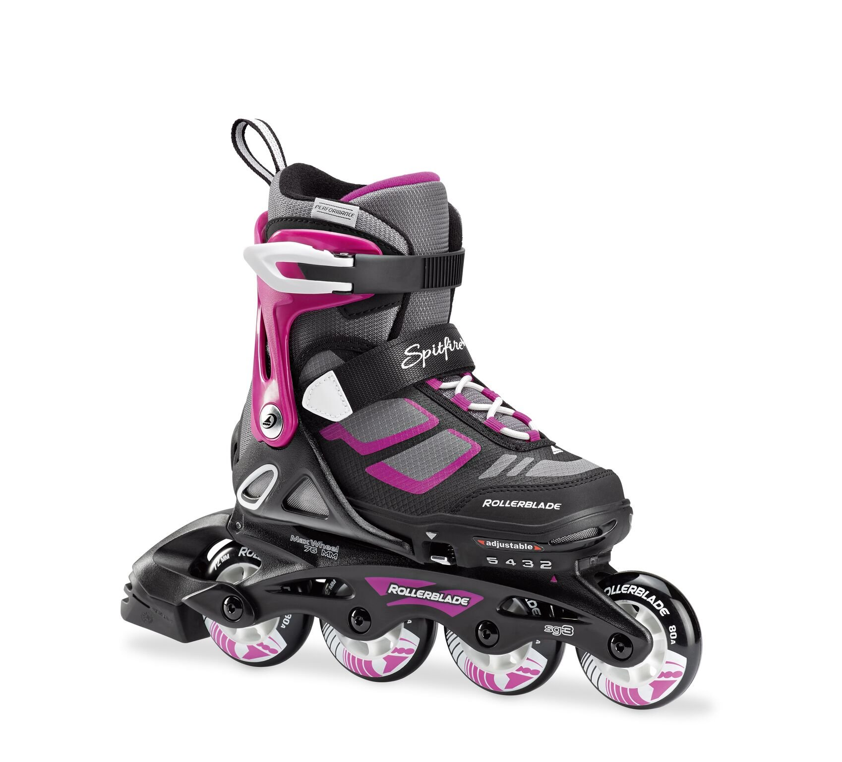 Rollerblade Spitfire XT Girl's Adjustable Fitness Inline Skate, Black and Purple, Junior, Youth Performance Inline Skates, Youth, Junior 5 to 8