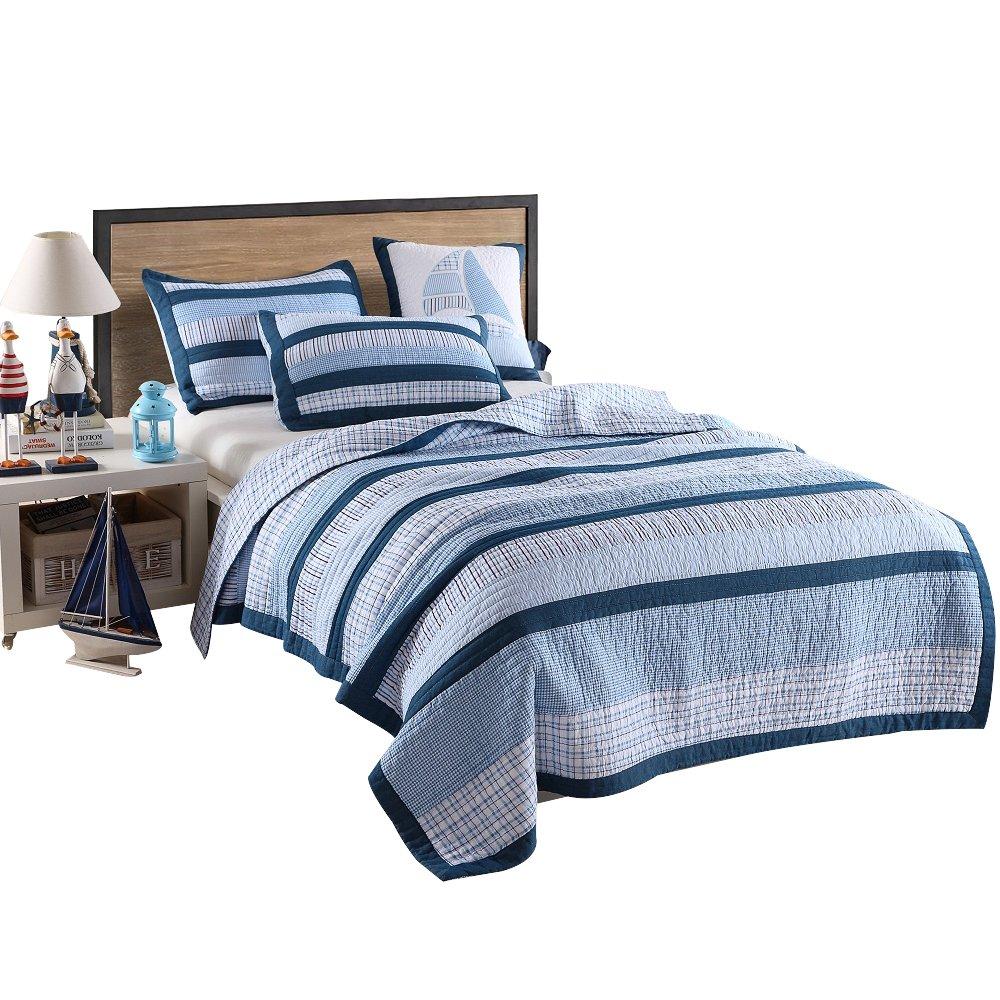 Artextile Blue Stripe and Stars Print Kids Boy Bedding Skincare Cotton Reversible Patchwork Coverlet Bedspread 2 Pcs Quilt Set (XL Twin(68''x 86''), Blue Stripe)
