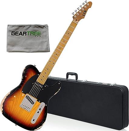 Esp Ltd te Serie TE-254 guitarra eléctrica, envejecido 3 Tone Burst W/gamuza de limpieza y duro caso: Amazon.es: Instrumentos musicales