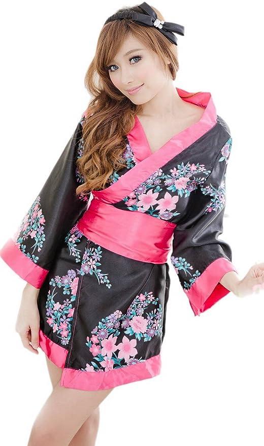 COMVIP Mujeres Sexy kimono cosplay vestido floral ropa interior del traje Talla única Negro: Amazon.es: Ropa y accesorios