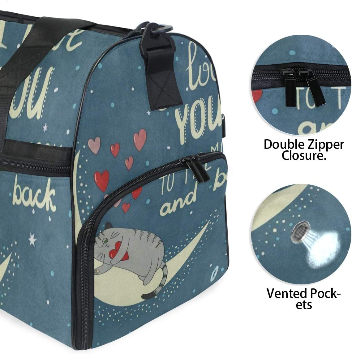 Gym Bag I Love You To The Moon And Back Quote Cat Kitten Duffle Bag Large Sport Travel Bags for Men Women