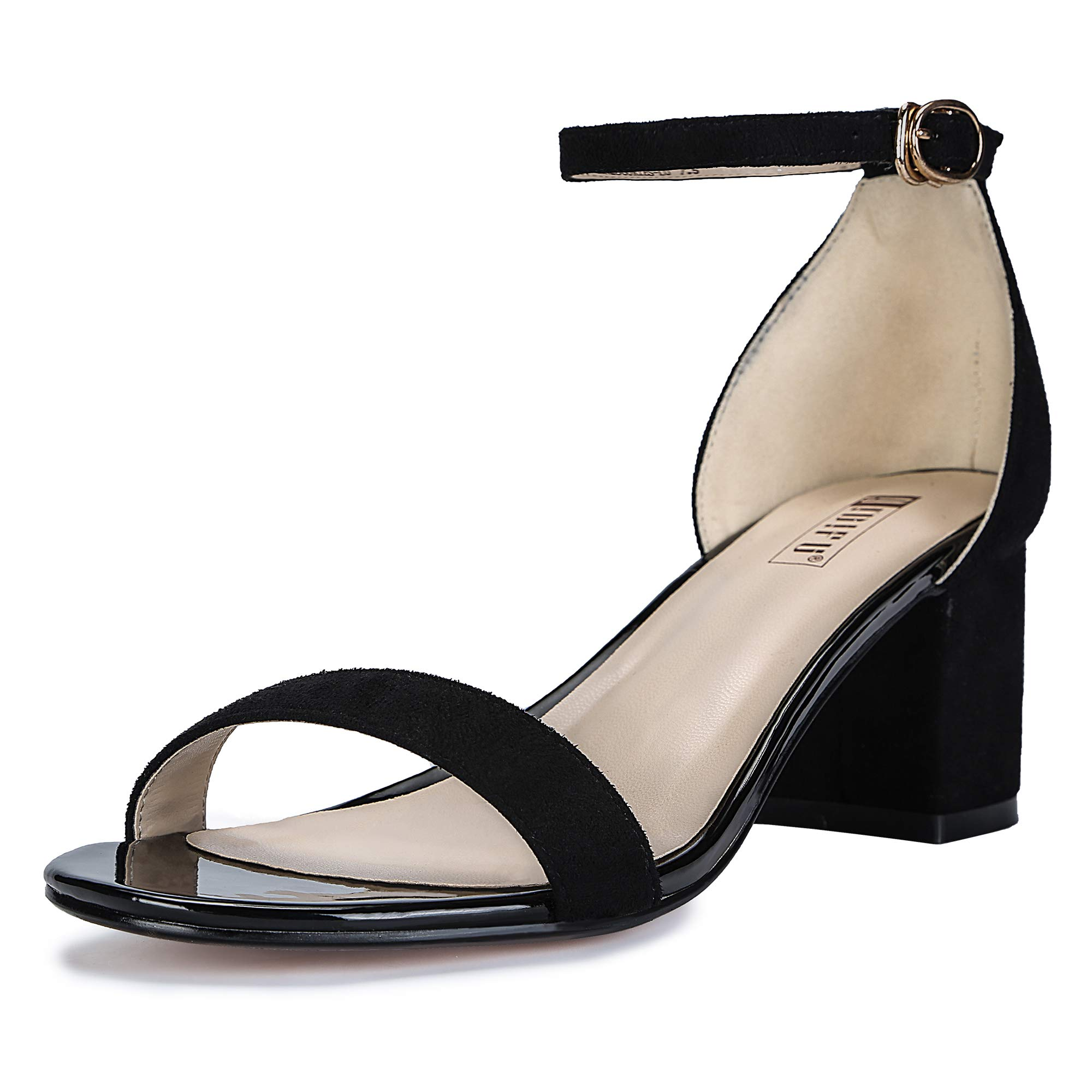 IDIFU Women's IN2 Cookie-LO Low Heel Ankle Strap Dress Pump Sandal (Black Suede, 6.5 B(M) US) by IDIFU