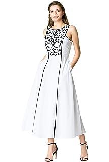449f42a7c68 eShakti FX Floral Embellished Cotton poplin Maxi Dress - Customizable  Neckline