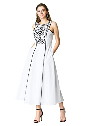 d592dac0818 eShakti FX Floral Embellished Cotton poplin Maxi Dress White Black ...