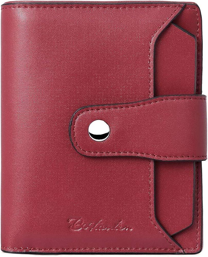 BOSTANTEN Women Leather Wallet RFID Blocking Small Bifold Zipper Pocket Wallet Card Case Purse with ID Window Wine Red
