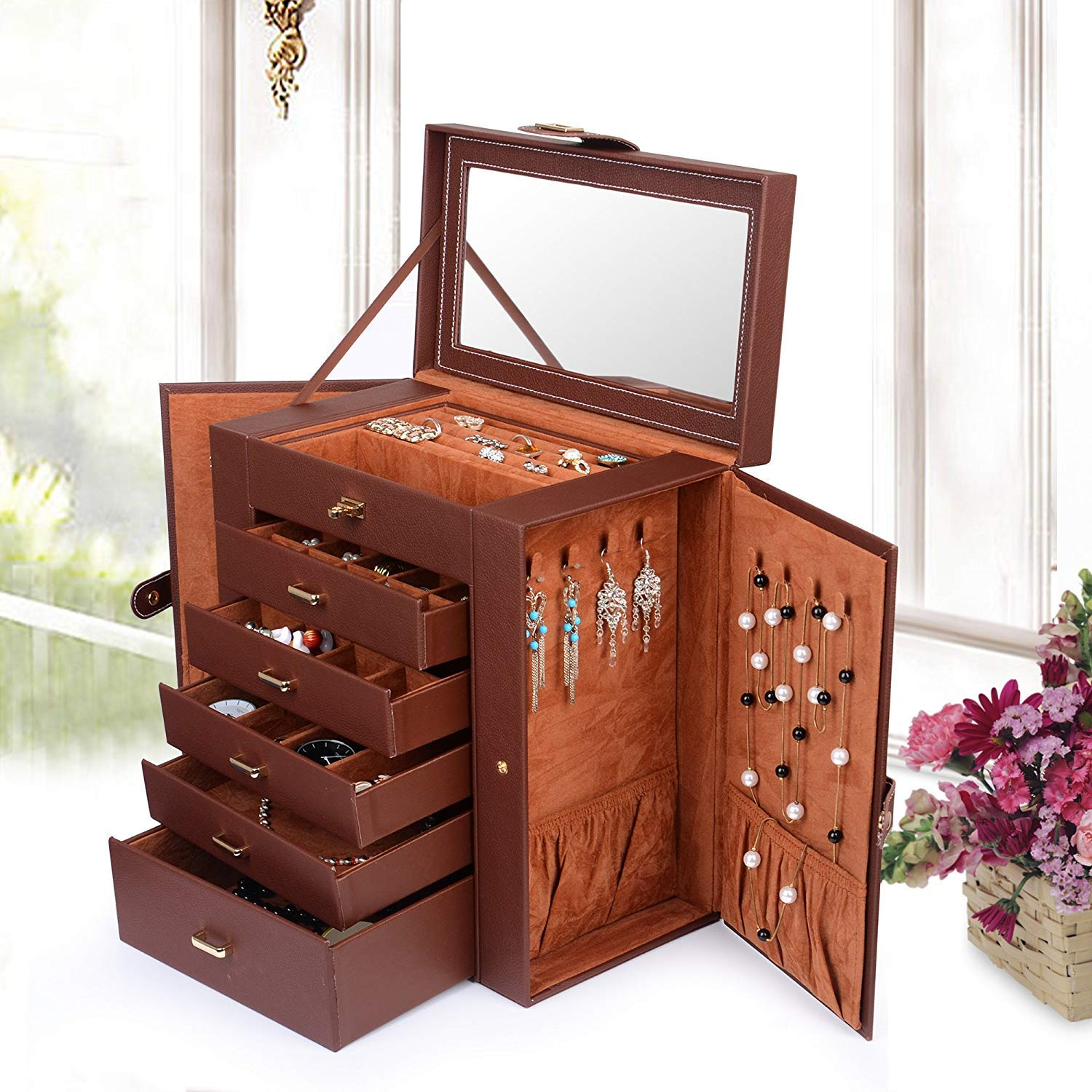 SSLine Deluxe Leather Large Jewelry Box Portable Travel Case for Watch Sunglasses Necklace Organizer 6-Tier Lockable Mirrored Jewel Storage Cabinet with Drawers - Brown