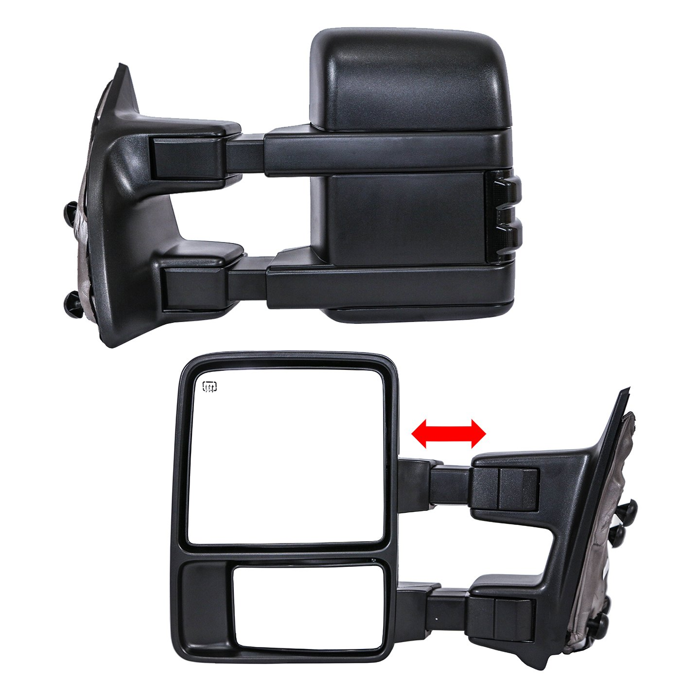 Heated Powered Paragon Telescopic Towing Mirrors 1999-2007 Ford F250//F350//F450 Smoke Turn Signals Black Pair Set