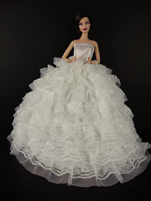 bbaa94a238 Buy Beautiful White Gown with Tons of Ruffles Ball Gown Made to Fit the  Barbie Doll Online at Low Prices in India - Amazon.in