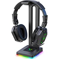 Blade Hawks RGB Gaming Headphone Stand with 3.5mm AUX and 2 USB Ports, Durable Headset Stand Holder for Bose, Beats…