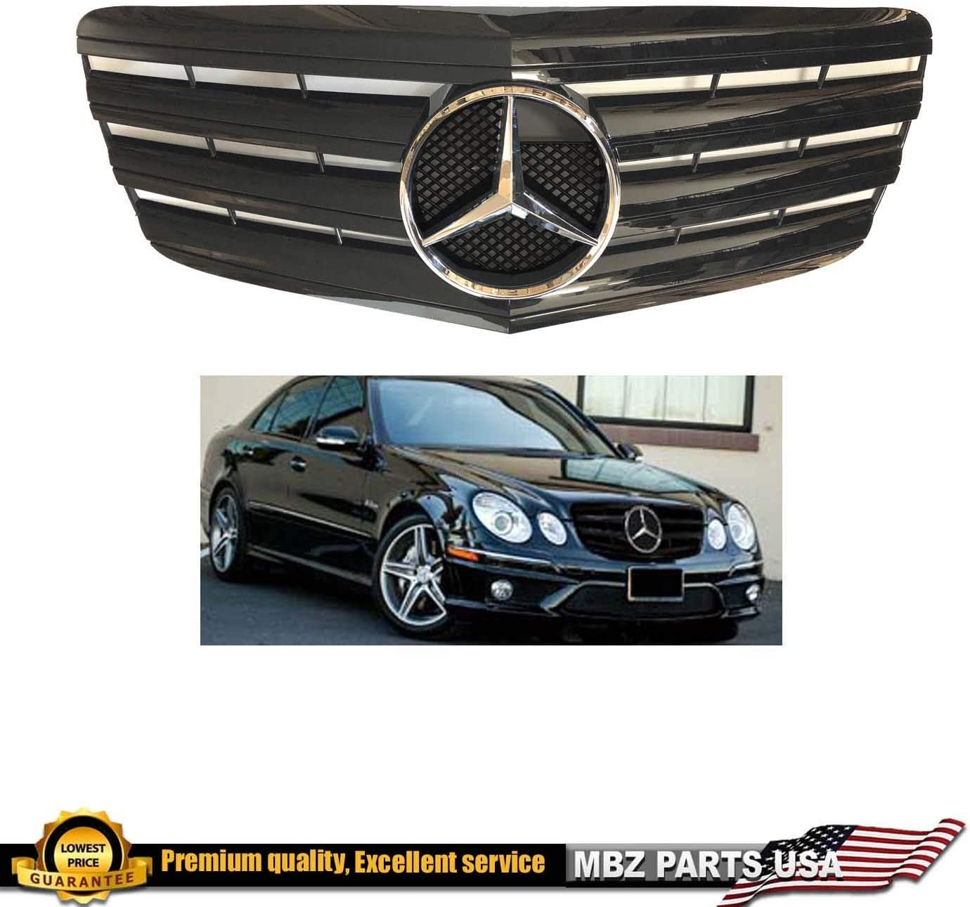 Mercedes Benz E Class 2007 2008 2009 All Black Glossy Grille With Chrome Oem Star E550 E350 E63 Emblem Custom Front New Part Grille Inserts Amazon Canada