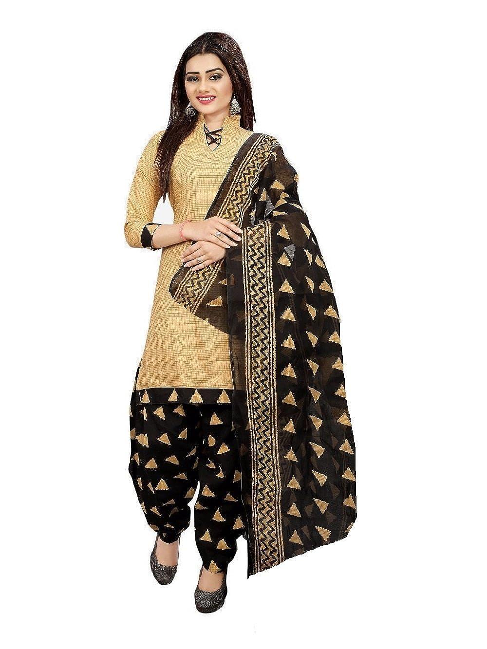 Om Women's Cotton Unstitched Salwar Suit (Beige Black_Free Size)