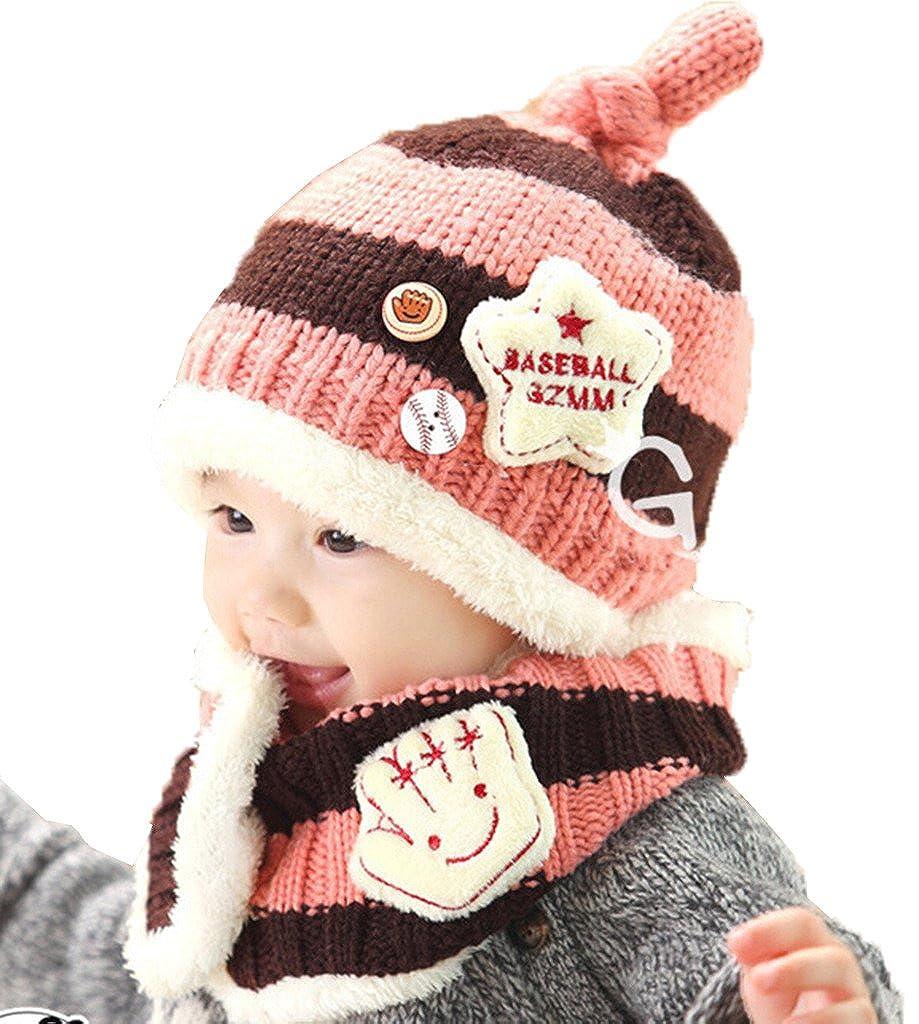 JT-Amigo - Cagoule Bonnet et écharpe Hiver à Motif Baseball - Bébé