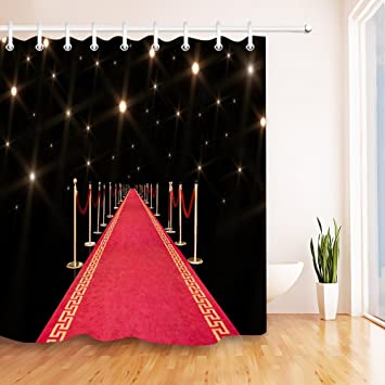 LB Red Carpet To Fame Stall Shower Curtain Set Road Celebrity Hollywood Dream Bathroom