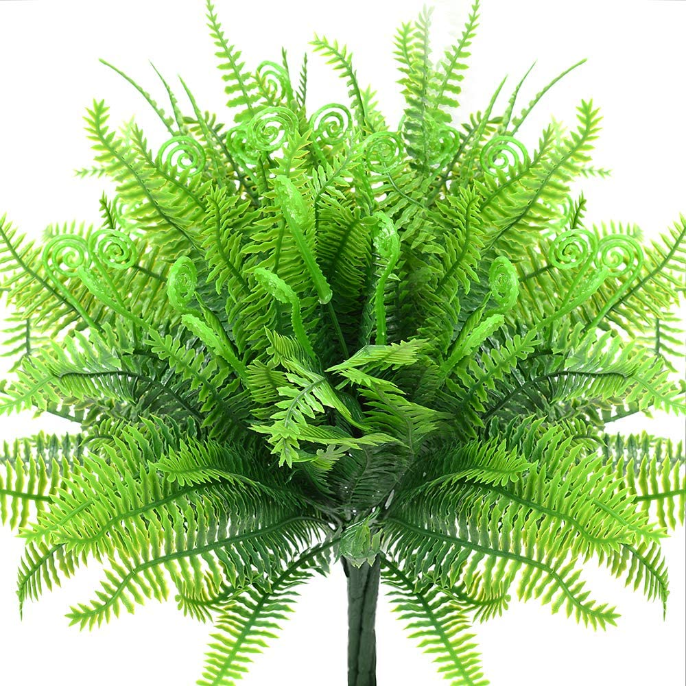 4pcs Artificial Fake Boston Fern Plants Bushes Artificial Ferns Outdoor UV Resistant Plant Shrubs Greenery for House Plastic Office Garden Indoor Decor
