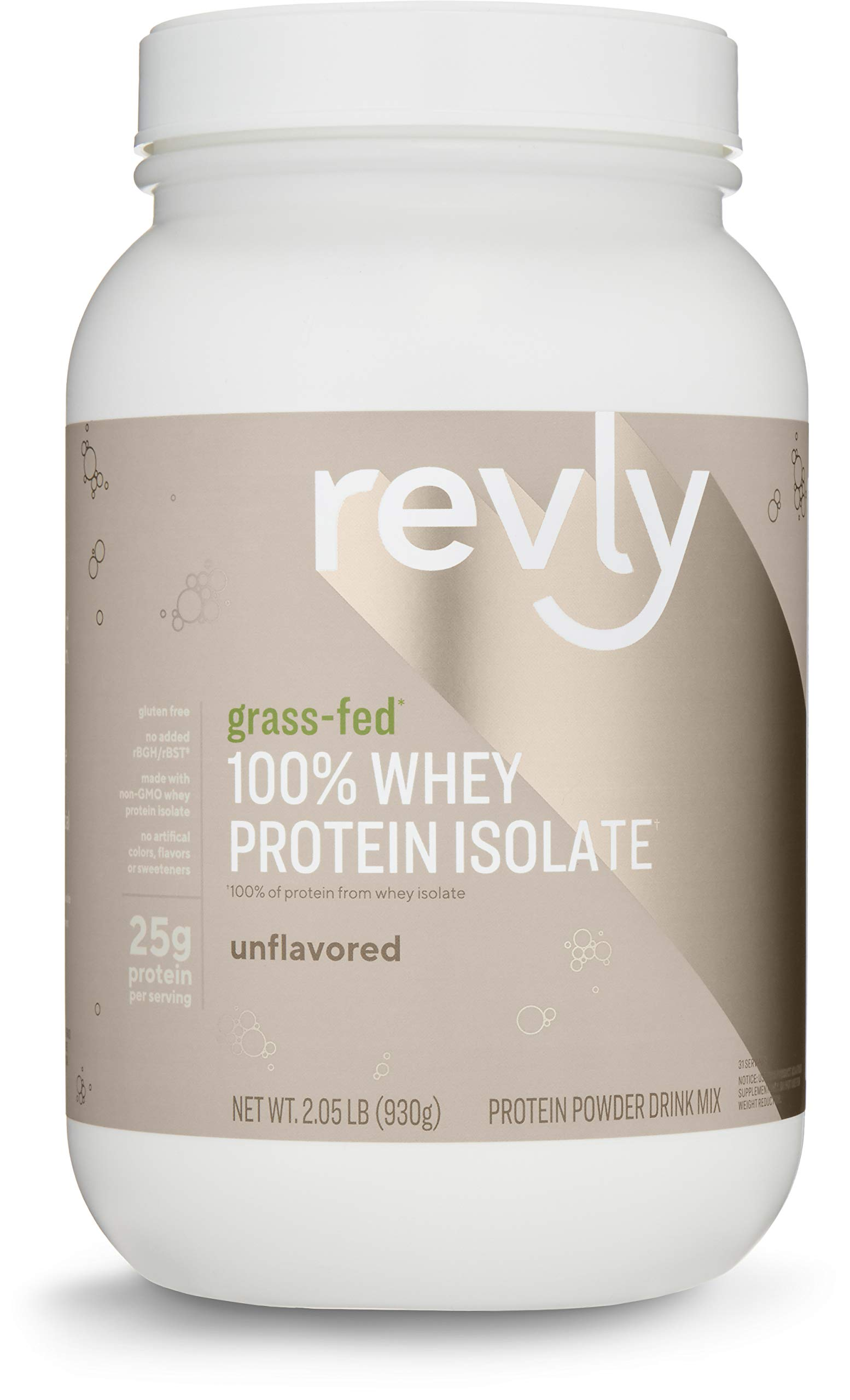 Amazon Brand - Revly 100% Grass-Fed Whey Protein Isolate Powder, Unflavored, 2.05 Pound (31 Servings), Gluten Free, Non-GMO, No added rbgh/rbst‡