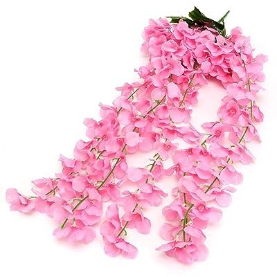 1 Bunch Artifical Hydrangea Flower Bracketplant Orchid Hanging Garland Vine : Garden & Outdoor