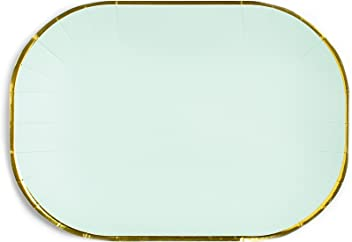 Sugar & Cloth 6 Inch Oval Paper Plate, Mint with Gold Edge, 16 Count