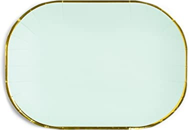 "Sugar & Cloth SC35PSGS125 6"" Oval 16 Piece Dinner Plate, Mint"