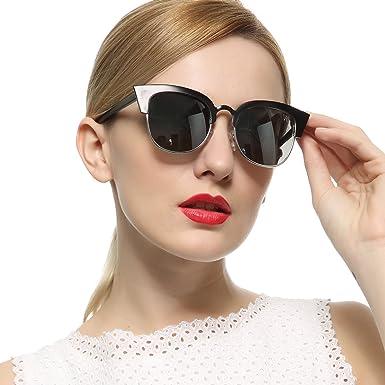 fe455eb4800 VIVIENFANG Women s Tip Pointed Semi-Rimless Frame Mirrored Lens Cateye  Sunglasses 86594B Black