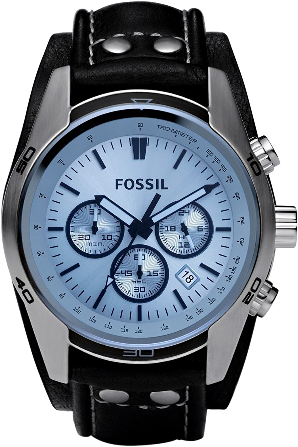 Fossil Men s Coachman Quartz Stainless Steel and Leather Casual Cuff Watch