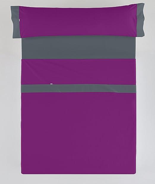 ESTELA - Juego de sábanas LISOS con APLIQUE color Morado-Gris (3 ...