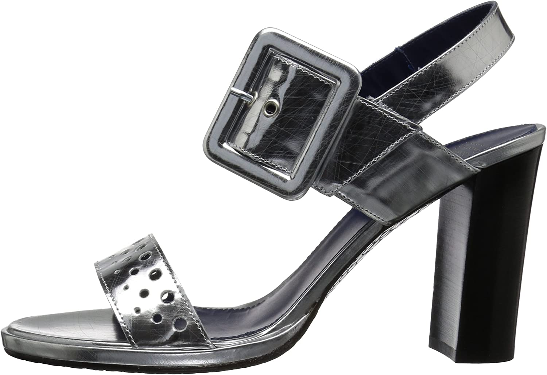 Amalfi by Rangoni Womens Leonilde Heeled Sandal Silver Sgraffiatto 9.5 M US