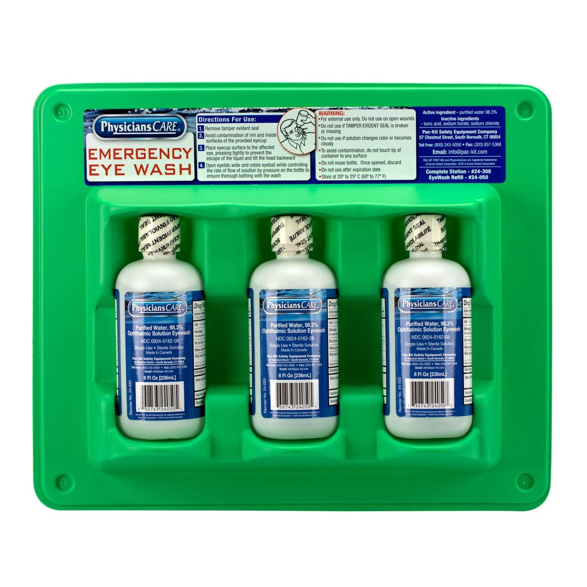 PhysiciansCare by First Aid Only 24-308 Wall Mountable Eye Wash Station with Triple 8 oz Bottle, 13.5'' L x 3'' W x 11.5'' H by First Aid Only