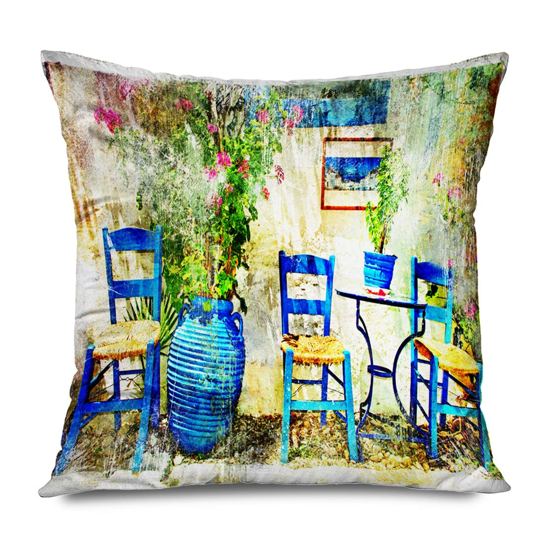 Ahawoso Throw Pillow Cover Square 18x18 Oil Pictorial Details Greece Old Chairs Taverna Artistic Vintage Town Greek Chania Crete Paint Decorative Pillowcase Home Decor Zippered Cushion Case