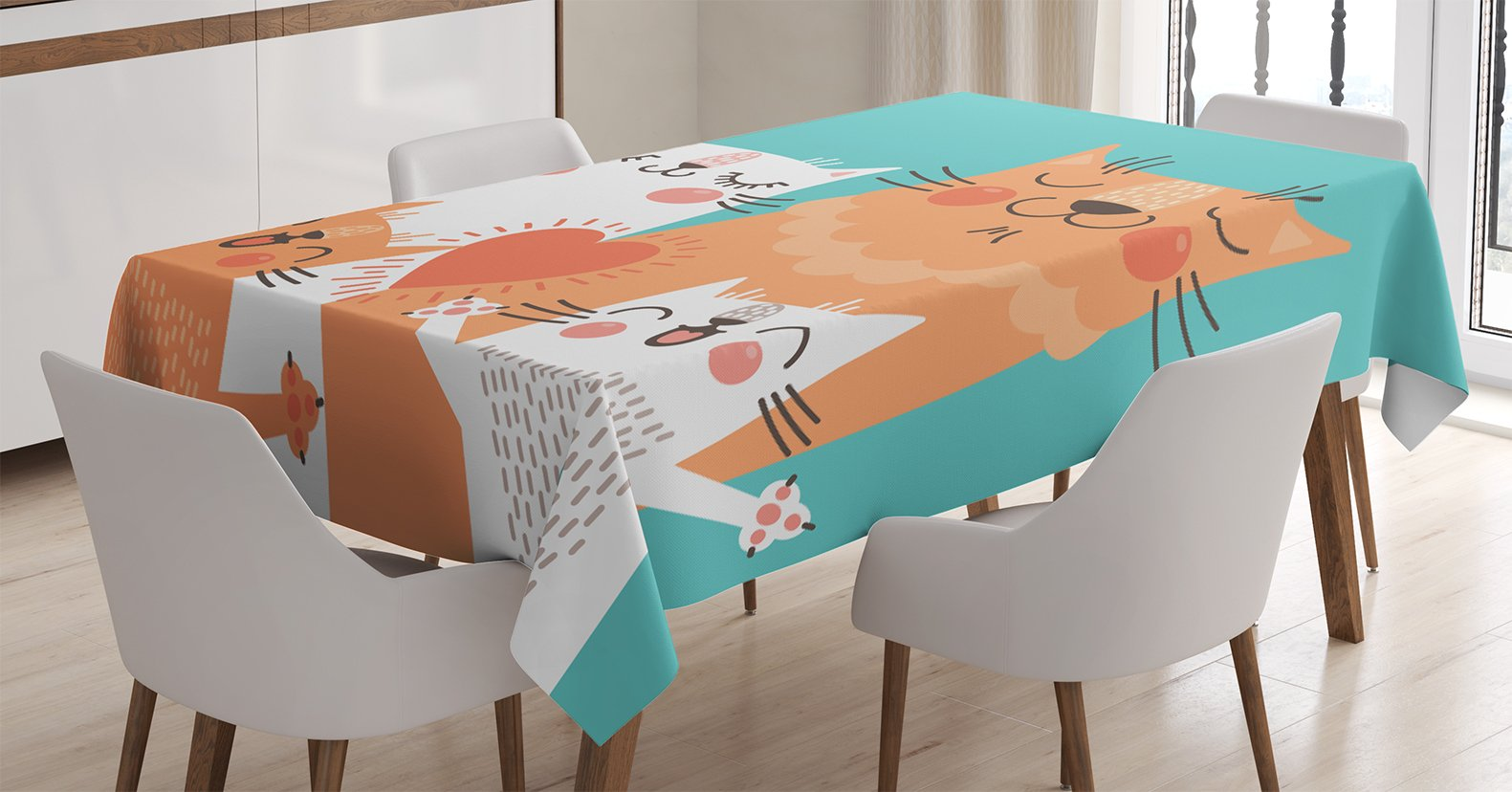 Ambesonne Funny Decor Tablecloth, Cute Kitten Couple Sweet Happy Paws Loving Heart with Family Cats Poster Style Animal Art Theme, Dining Room Kitchen Rectangular Table Cover, 60 X 84 inches by Ambesonne