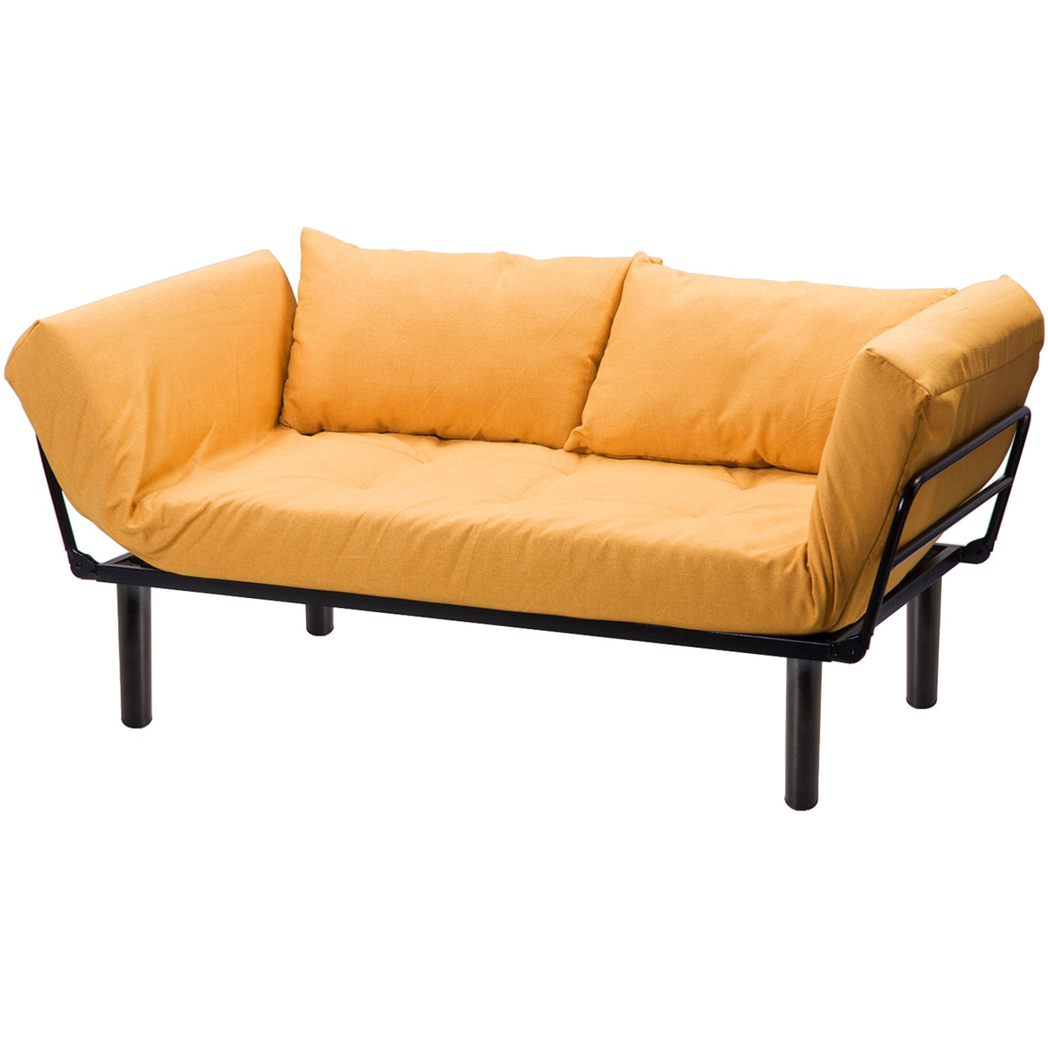 Merax Convertible Sleeper Futon Sofa Chaise Lounge Sofa Bed Metal Frame with 7 inch Mattress, Yellow