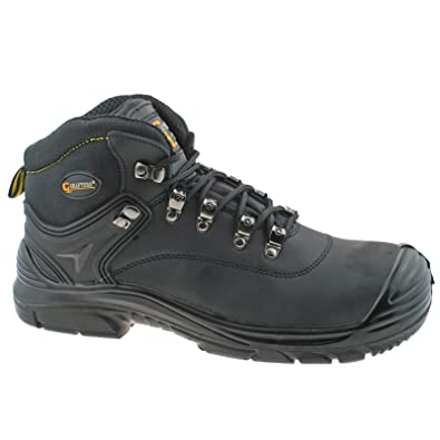 0cfe6b36529 Grafters Mens S3 SRC WP Leather Super Wide Safety Boots Black Work ...