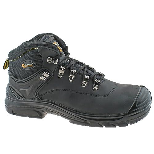 Botas de seguridad Grafters, depiel impermeable, corte ancho, color Negro,