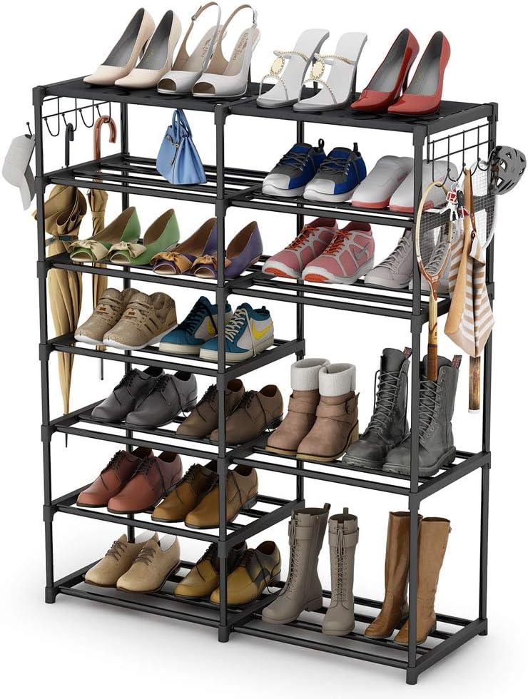 Tribesigns Shoe Rack Shoe Tower Shoe Shelf Shoe Storage Organizer Unit Entryway Shelf Stackable Cabinet 24-30 Pairs 7-Tier Durable Metal Shoe Rack Boots Organizer