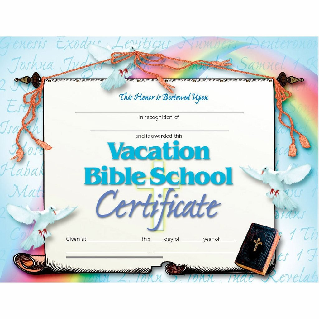 Amazon Vacation Bible School Certificate Glossy Paper