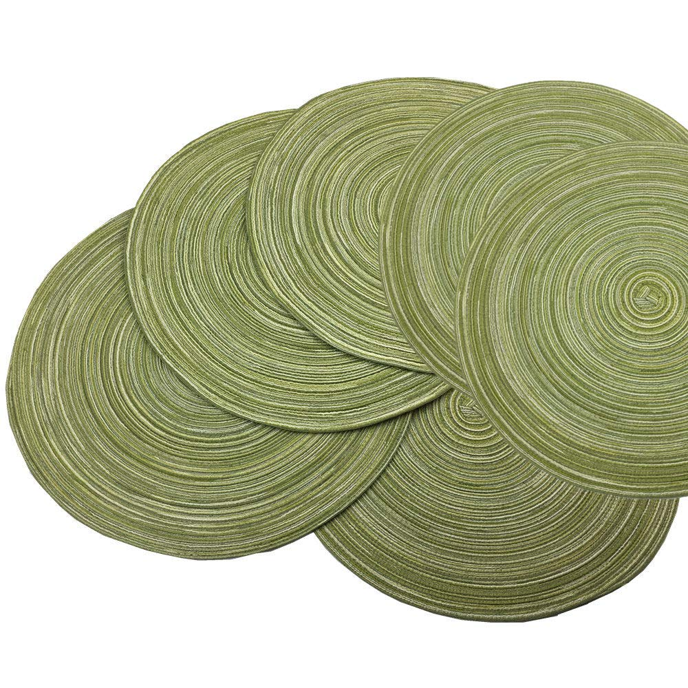 Red-A,Placemats,Round Placemats for Dining Table Set of 6 Woven Heat Resistant Non-Slip Kitchen Table Mats Diameter 14 inch(Green)