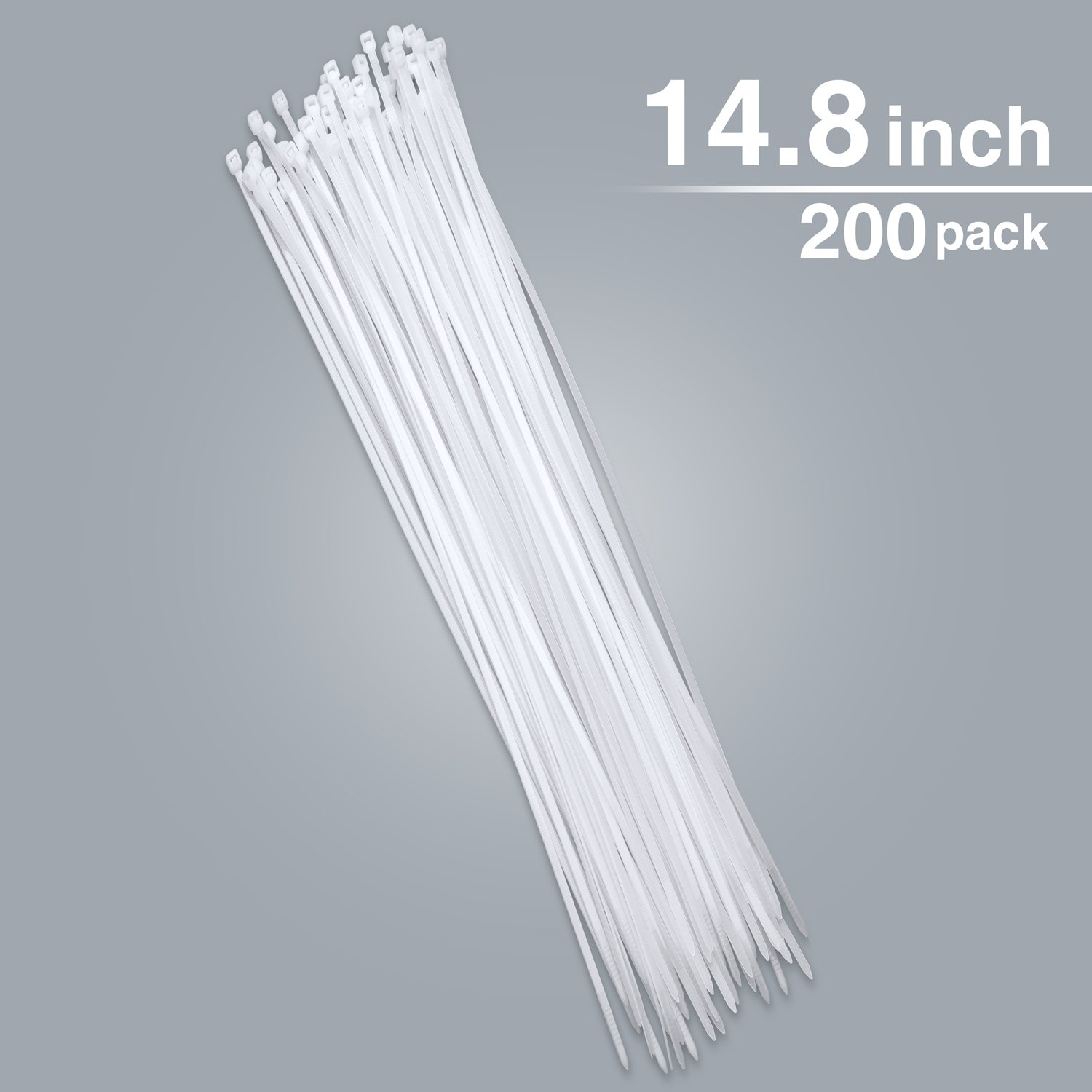 14.8Inch 200 Pack Zip Ties Syntrific Heavy Duty Cable Ties CablePerfect for Organizing Wires Home &Office Garage Workshop Use(White)